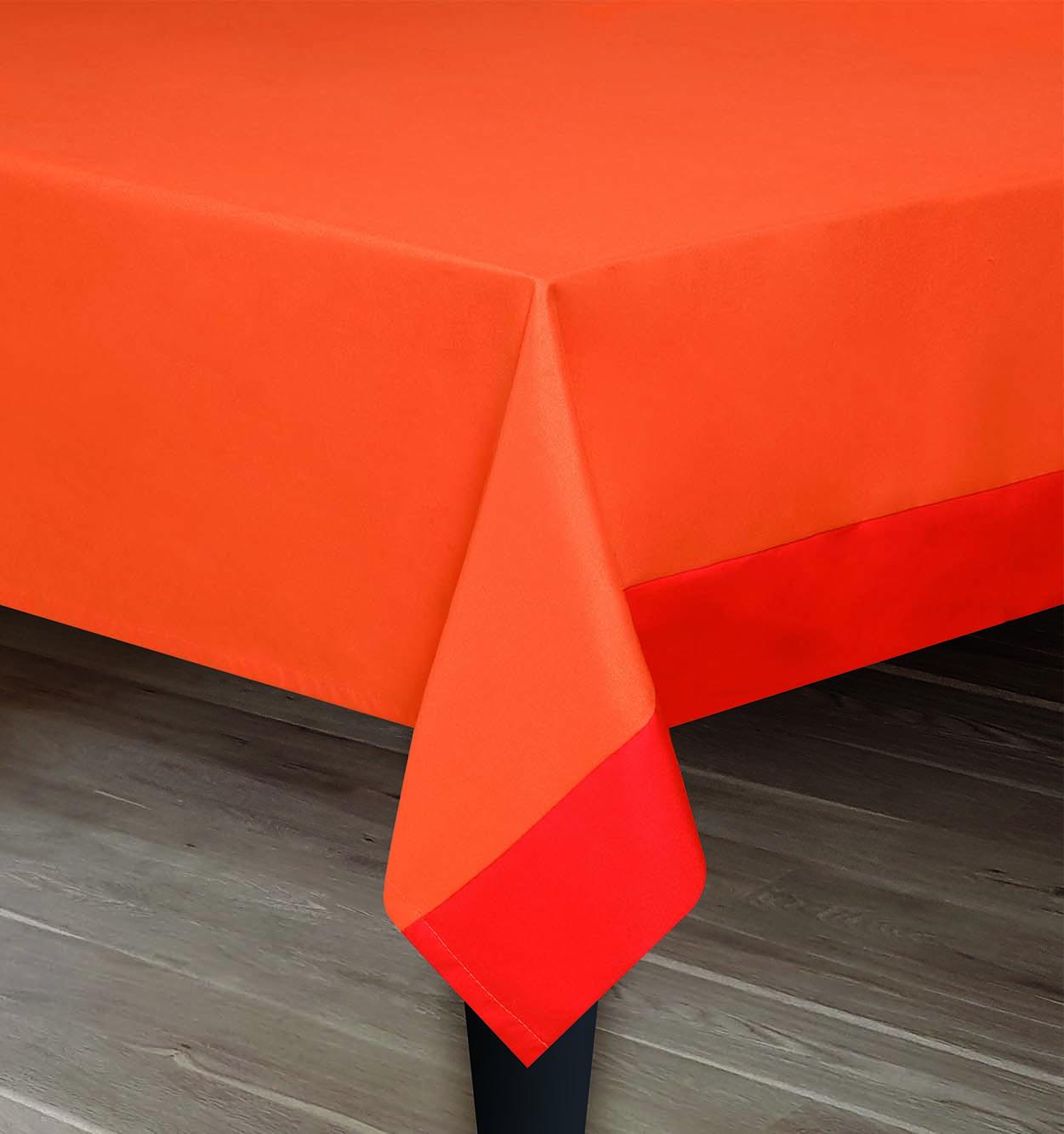 Mantel Ana Naranja con cenefa Rojo